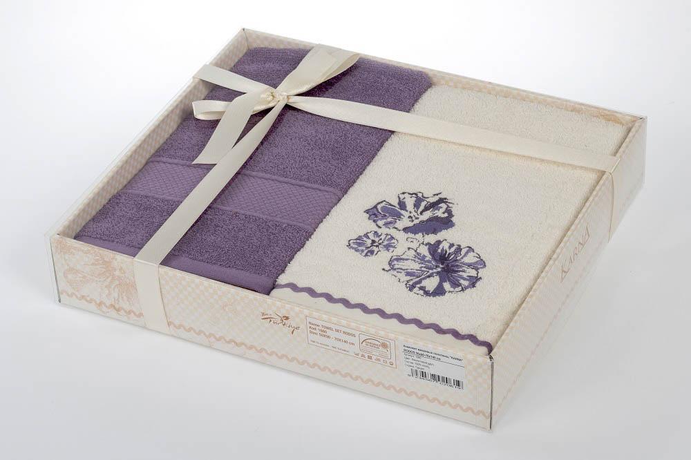 где купить  Полотенца Karna Полотенце Rodos Цвет: Фиолетовый (Набор)  по лучшей цене
