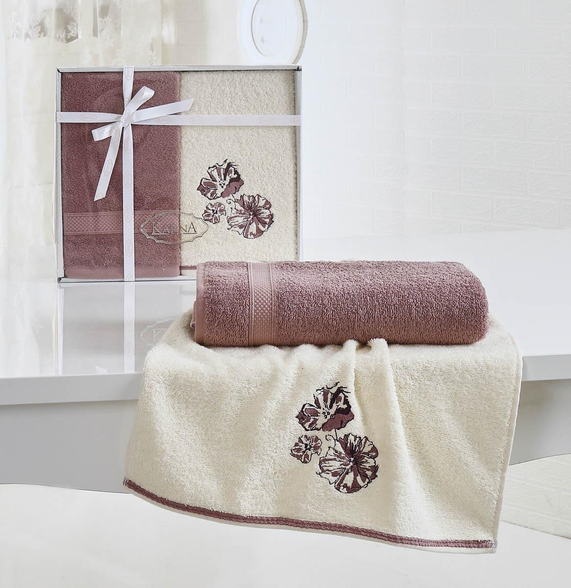 где купить  Полотенца Karna Полотенце Rodos Цвет: Грязно-Розовый (Набор)  по лучшей цене