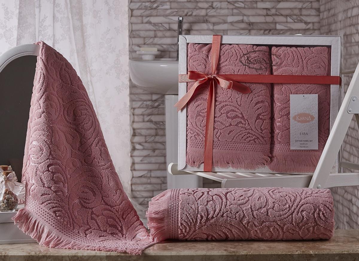 где купить  Полотенца Karna Полотенце Esra Цвет: Розовый (Набор)  по лучшей цене