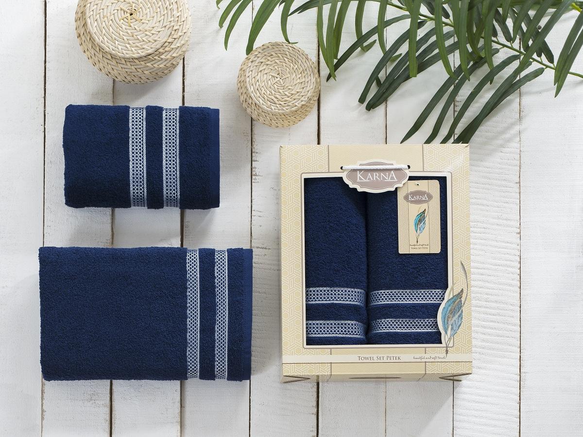 Полотенца Karna Полотенце Petek Цвет:Синий (Набор)
