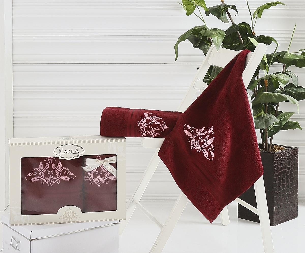 где купить  Полотенца Karna Полотенце Agra Цвет: Бордовый (Набор)  по лучшей цене