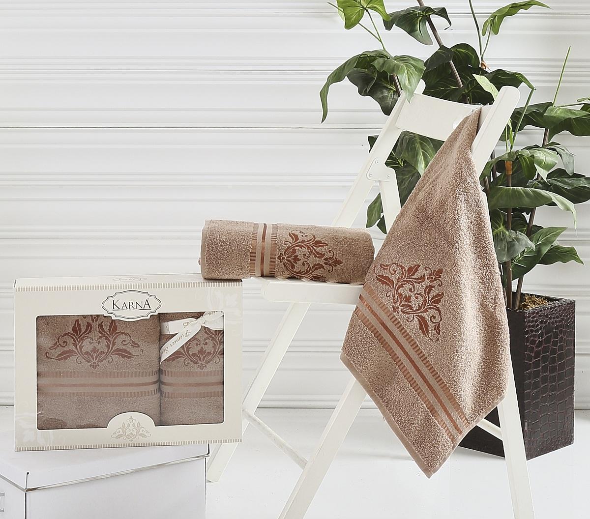 где купить  Полотенца Karna Полотенце Agra Цвет: Коричневый (Набор)  по лучшей цене