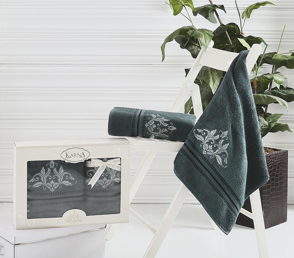 где купить  Полотенца Karna Полотенце Agra Цвет: Темно-Зеленый (Набор)  по лучшей цене