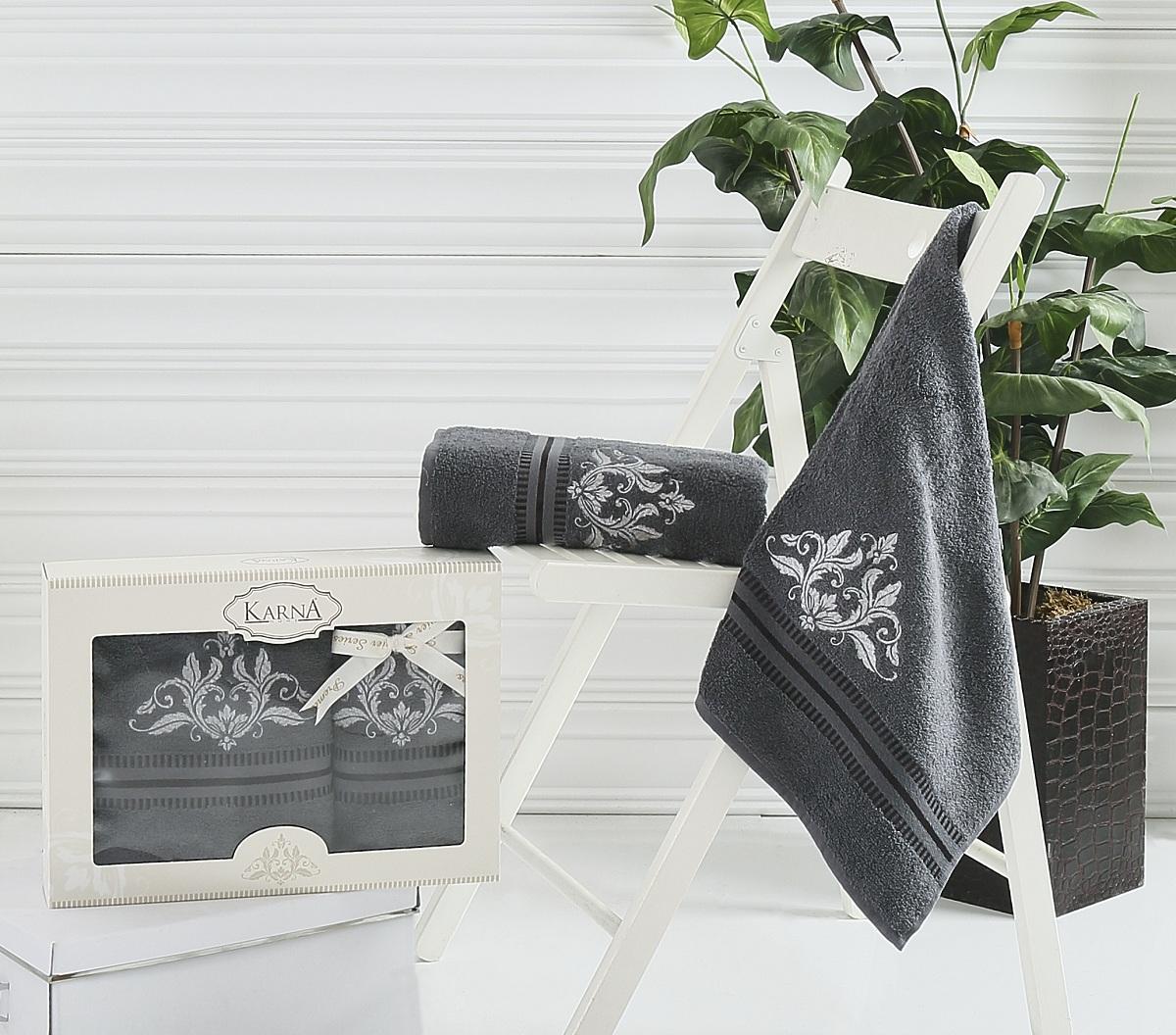 где купить  Полотенца Karna Полотенце Agra Цвет: Темно-Серый (Набор)  по лучшей цене