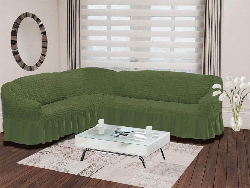 {} Karna Чехол для мебели Bulsan Цвет: Зеленый (Трехместный) karna karna чехол на диван угловой цвет коричневый