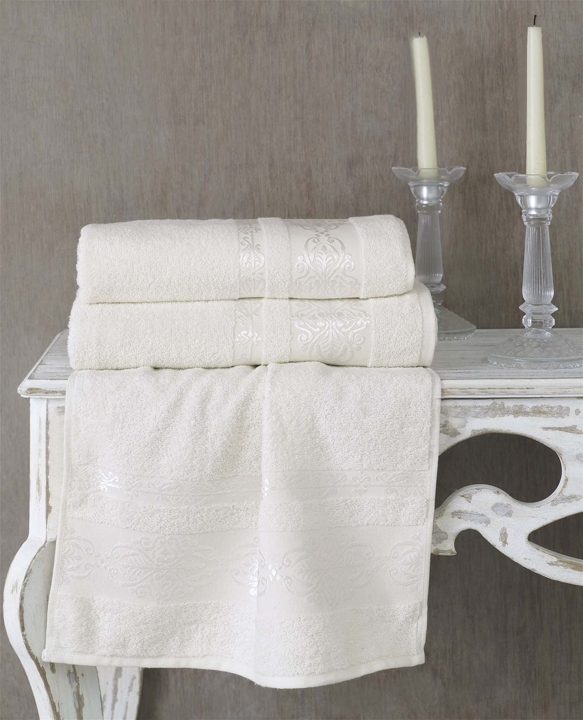 где купить Полотенца Karna Полотенце Rebeka Цвет: Кремовый (70х140 см) по лучшей цене