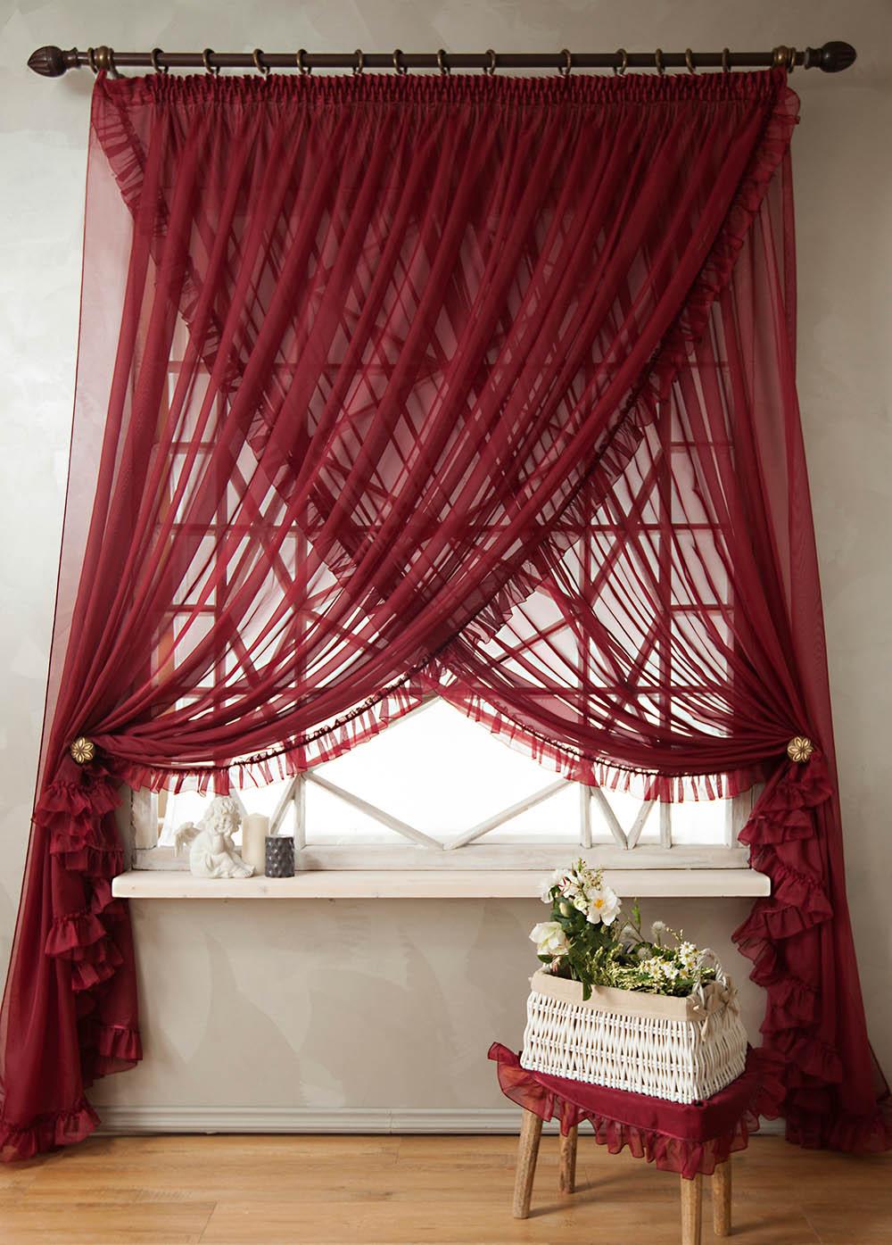 PASIONARIA Скрещенные шторы Винтаж Цвет: Бордовый