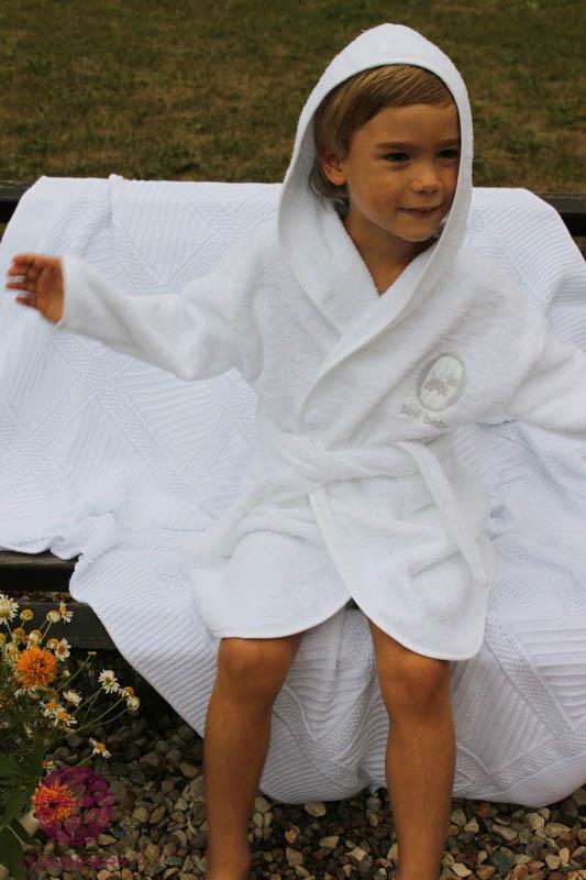 Детские халаты BOVI Детский халат Собачки Цвет: Бело-Бежевый