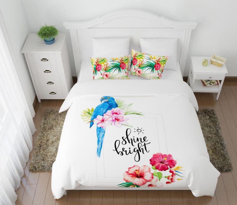 Постельное белье Сирень Постельное белье Голубой Попугай (семейное) постельное белье сирень постельное белье евро кпб попугай ария