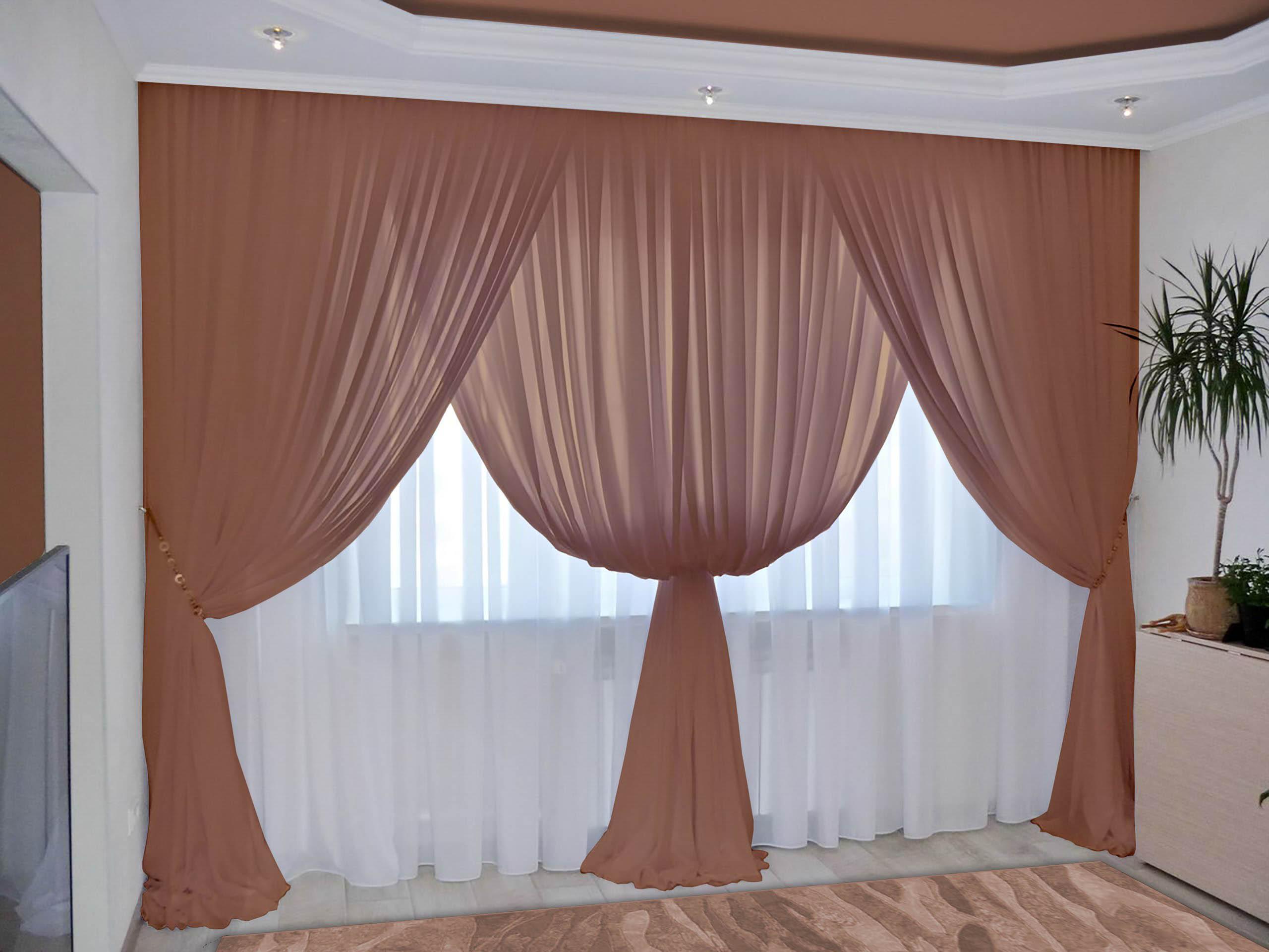Шторы РеалТекс Классические шторы Augustine Цвет: Шоколад реалтекс реалтекс классические шторы akina цвет бежевый бордовый