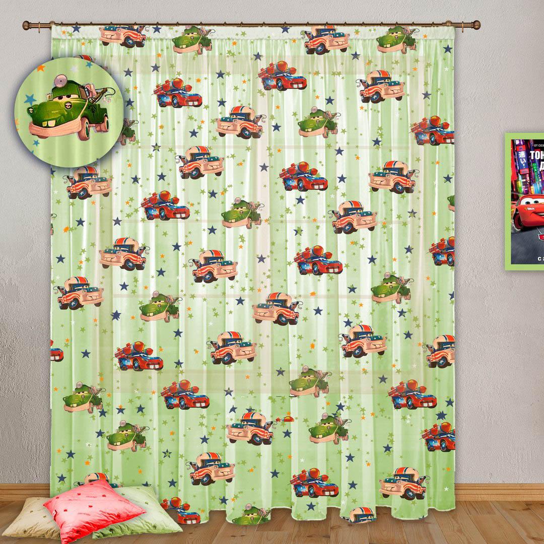 Шторы РеалТекс Классические шторы Тачки Цвет: Зеленый