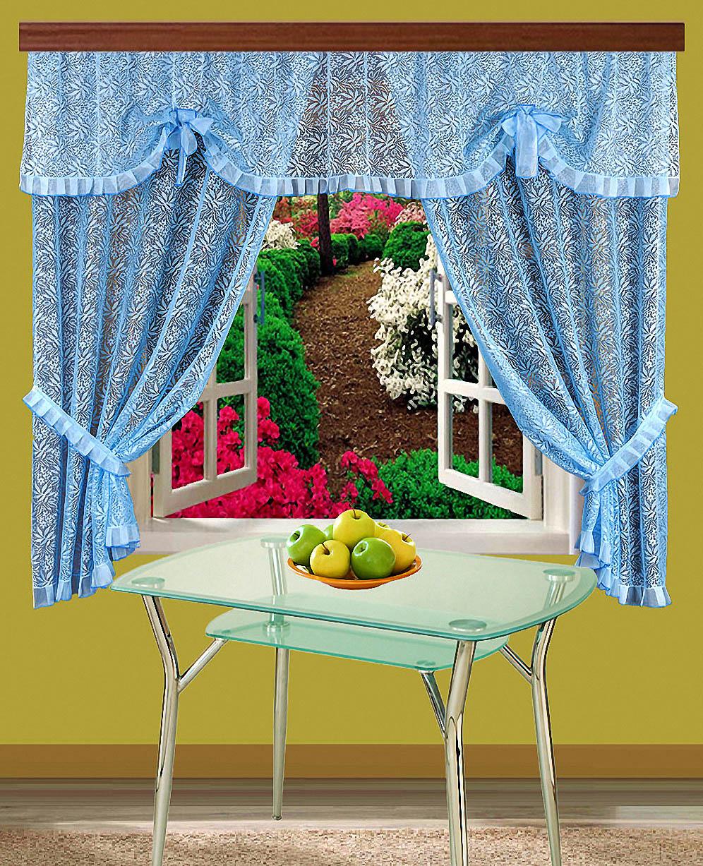 где купить  Шторы Elegante Шторы с ламбрекеном Lira Цвет: Голубой  по лучшей цене
