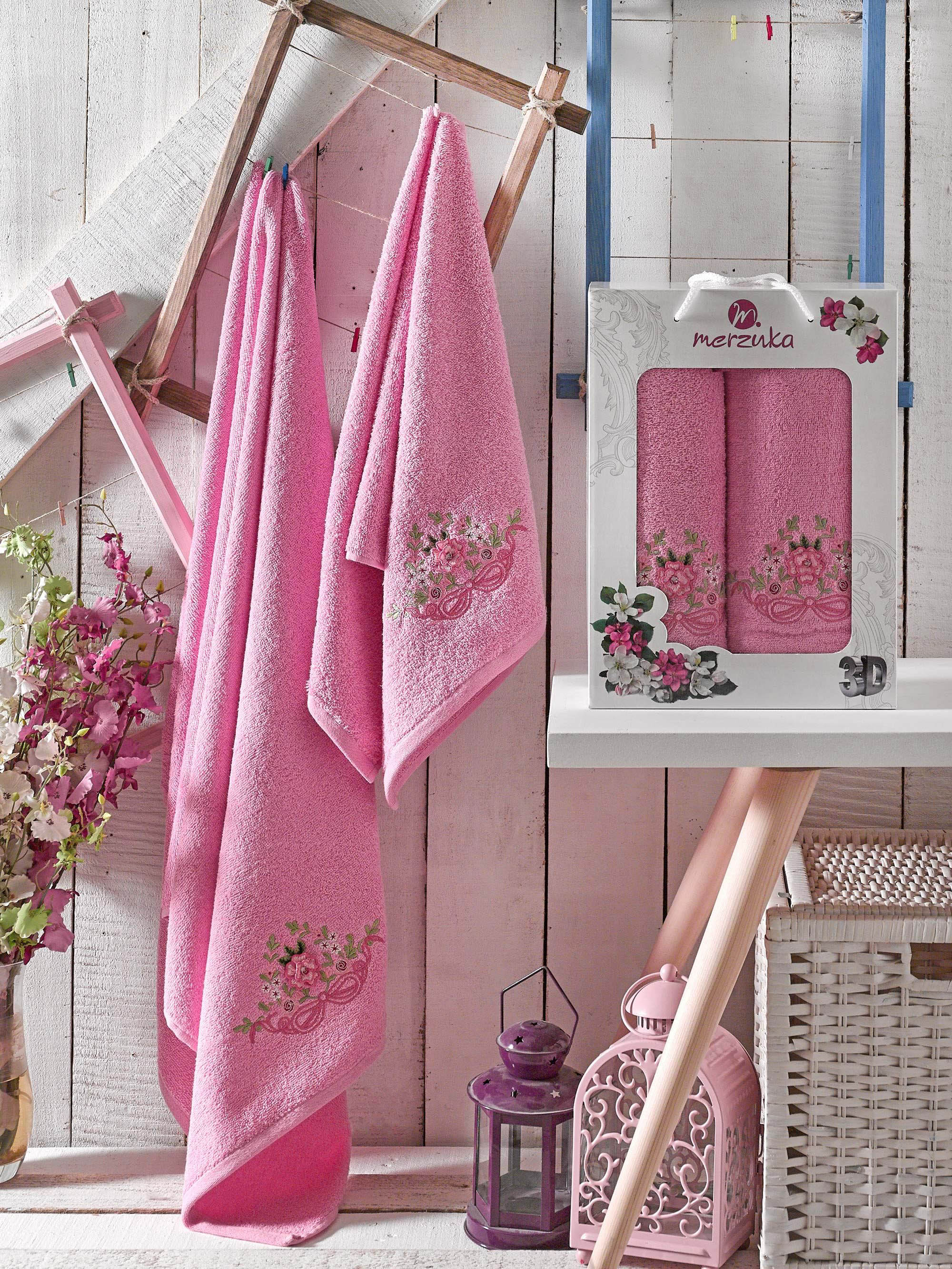 Полотенца Oran Merzuka Полотенце Demo Цвет: Розовый (50х90 см,70х140 см) набор из 3 полотенец merzuka sakura 50х90 2 70х140 8432 оранжевый