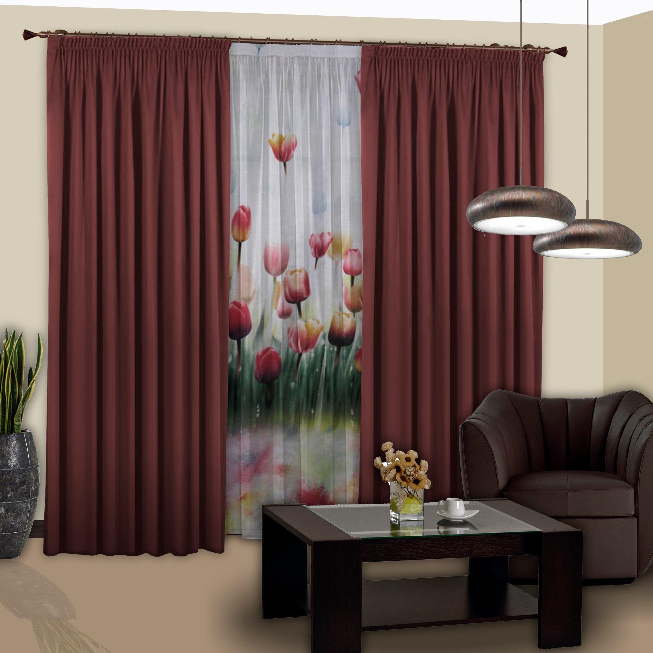 Шторы РеалТекс Классические шторы Saundra Цвет: Бордовый реалтекс реалтекс классические шторы akina цвет бежевый бордовый