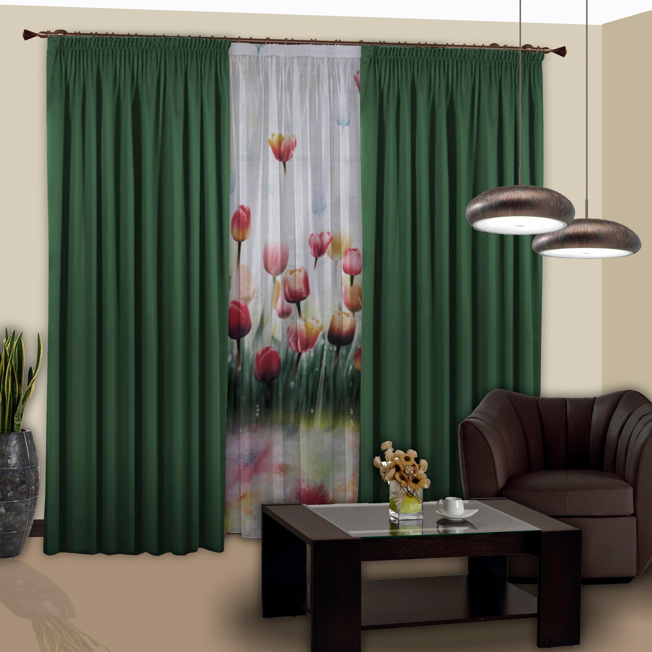 Шторы РеалТекс Классические шторы Saundra Цвет: Темно-Зеленый реалтекс реалтекс классические шторы akina цвет бежевый бордовый
