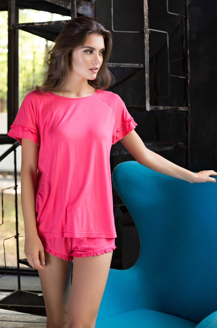 Пижамы Mia-Mia Пижама Gemma Цвет: Коралловый (xS) riffi мочалка пояс двухсторонняя цвет коралловый