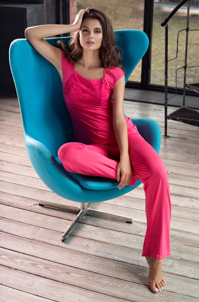Пижамы Mia-Mia Пижама Gemma Цвет: Коралловый (xL) riffi мочалка пояс двухсторонняя цвет коралловый