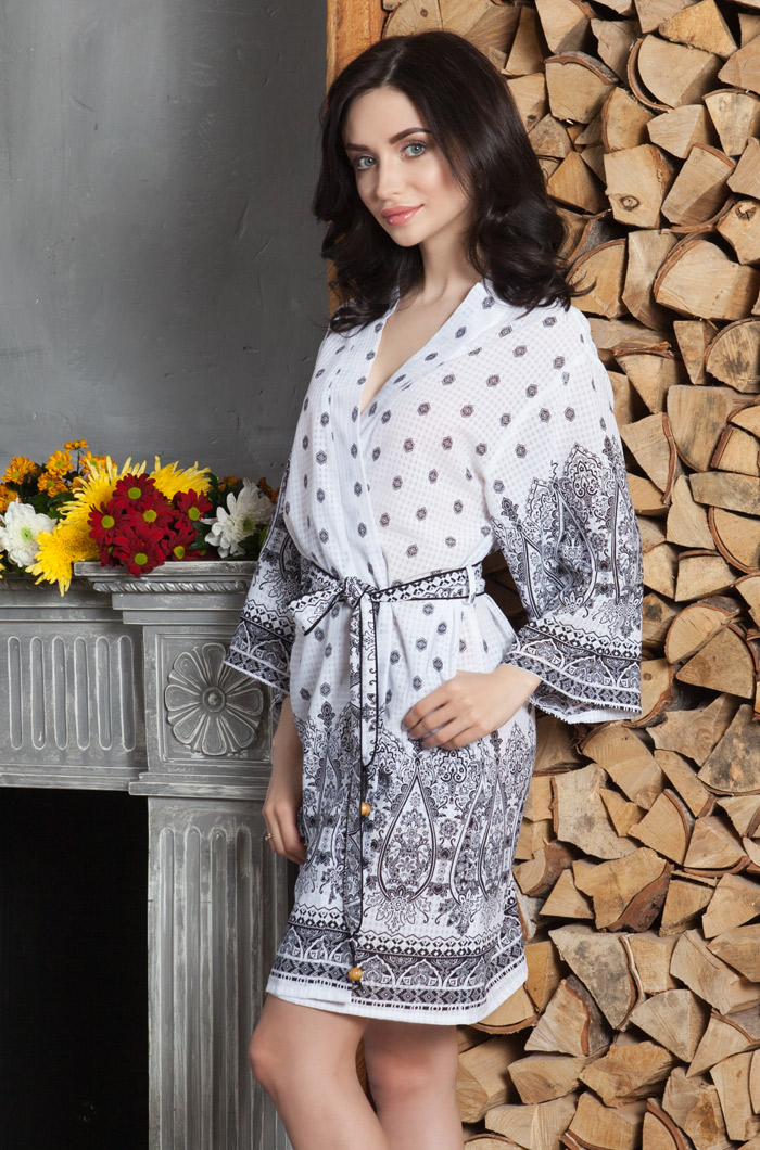 Домашние халаты Mia-Mia Домашний халат Leona Цвет: Белый (xxL)