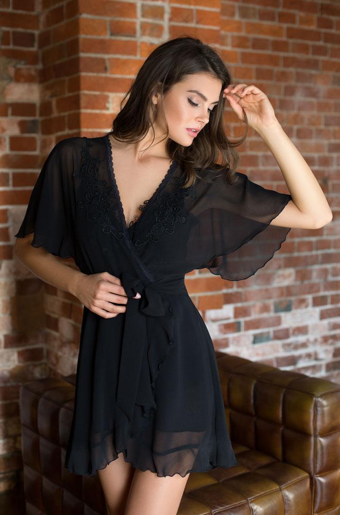 Домашние халаты Mia-Mia Домашний халат Venera Цвет: Черный (xS)