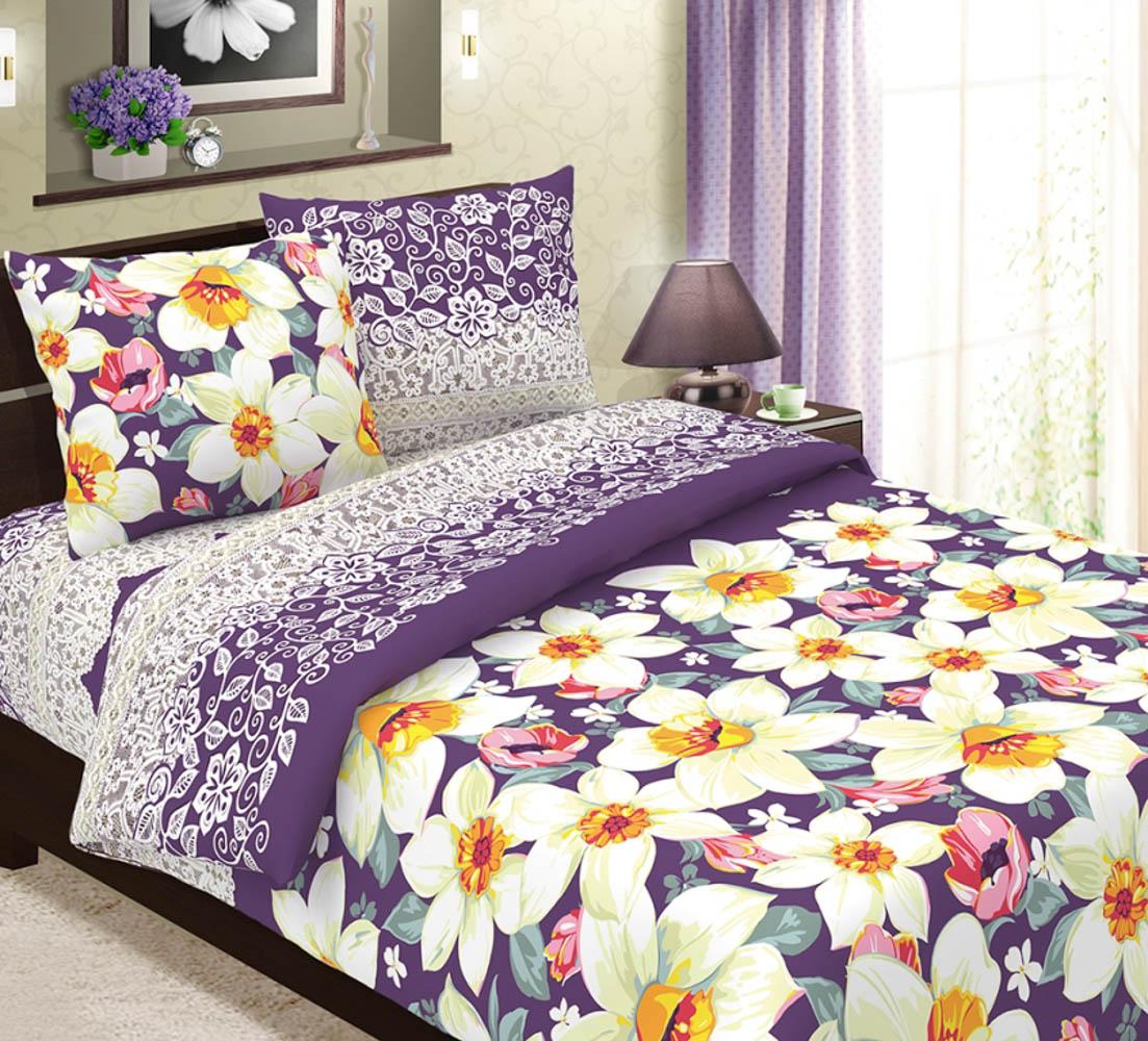 Постельное белье ТК Хлопковый Рай Постельное белье Нарциссы Цвет: Фиолетовый (1,5 спал.)