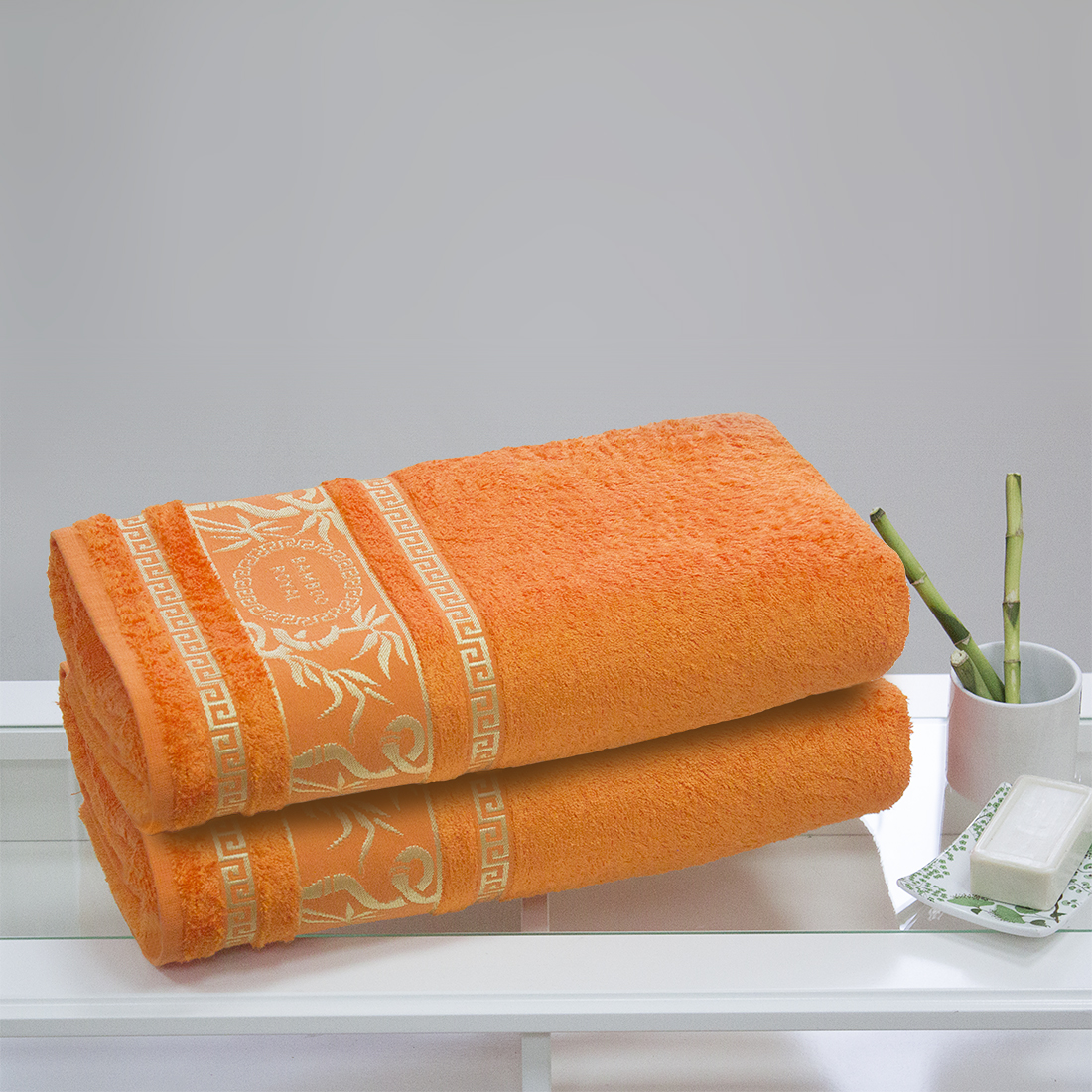 Полотенца Juanna Полотенце Роял Цвет: Оранжевый (70х140 см - 2 шт) набор из 3 полотенец merzuka sakura 50х90 2 70х140 8432 оранжевый