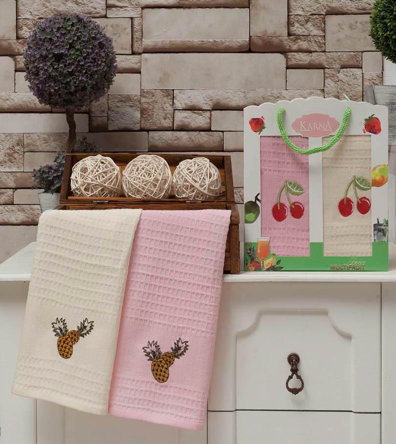 все цены на  {} Karna Кухонное полотенце Jolly V3 (40х60 см - 2 шт)  онлайн