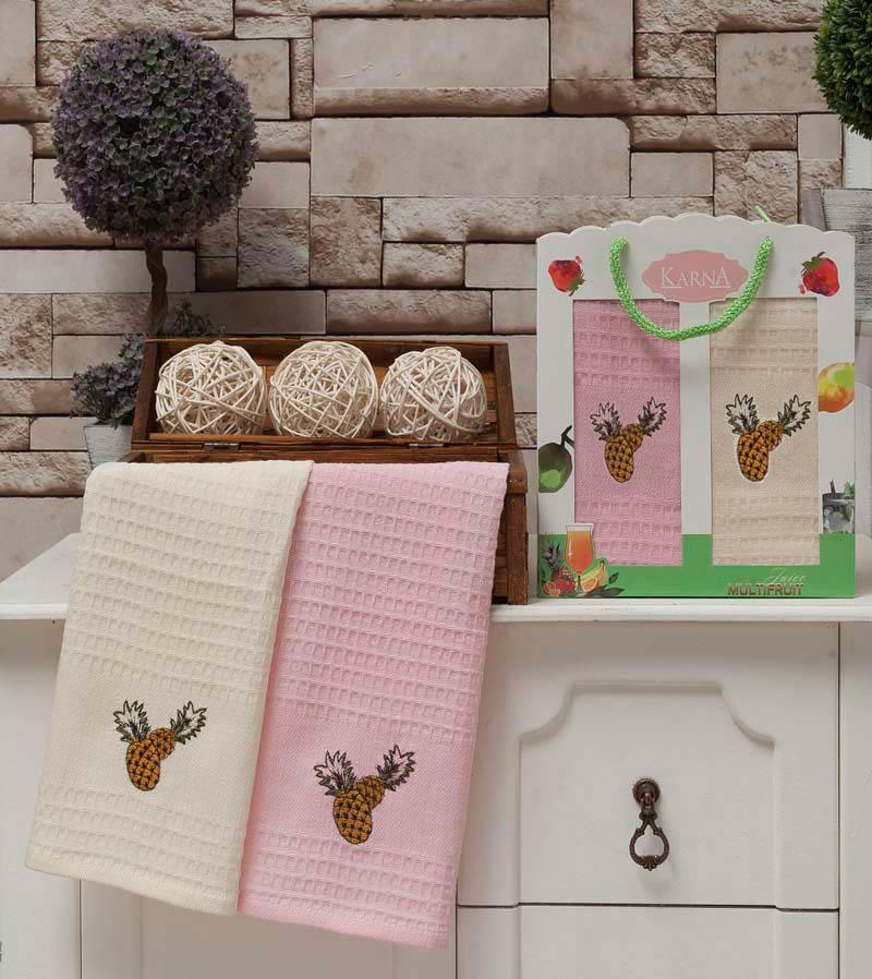 все цены на  {} Karna Кухонное полотенце Jolly V7 (40х60 см - 2 шт)  онлайн