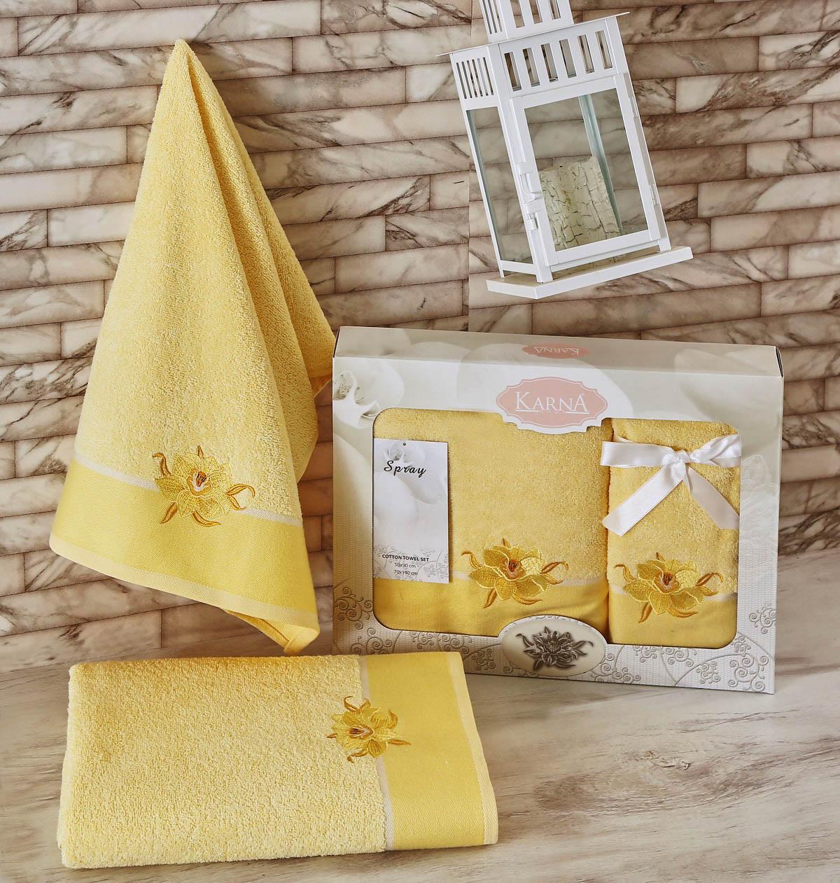 Полотенца Karna Полотенце Spray Цвет: Светло-Желтый (Набор) полотенце karna цвет желтый