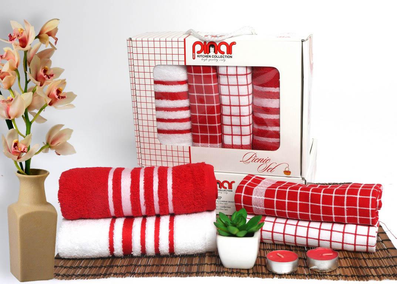 Кухонный набор Pinar Pinar Кухонный набор из 4 полотенец Пикник Цвет: Красный pnr206022