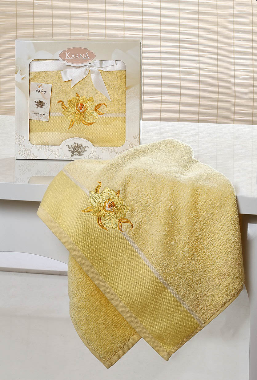 Полотенца Karna Полотенце Spray Цвет: Светло-Желтый (50х90 см) полотенце karna цвет желтый