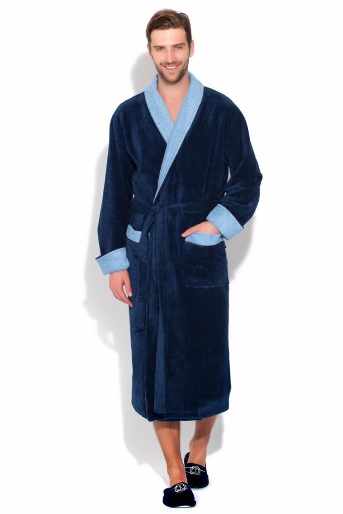 Сауны, бани и оборудование Peache Monnaie Халат Graf Цвет: Индиго, Светло-Голубой (L)  цена и фото