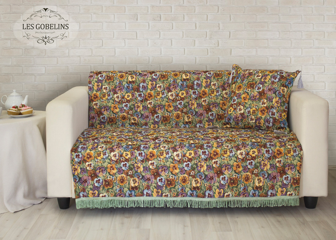 все цены на  Пледы и покрывала Les Gobelins Накидка на диван Fleurs De Jardin (140х160 см)  в интернете