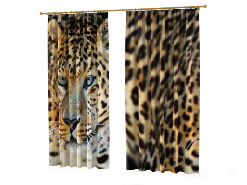 Шторы StickButik Фотошторы Взгляд Леопарда