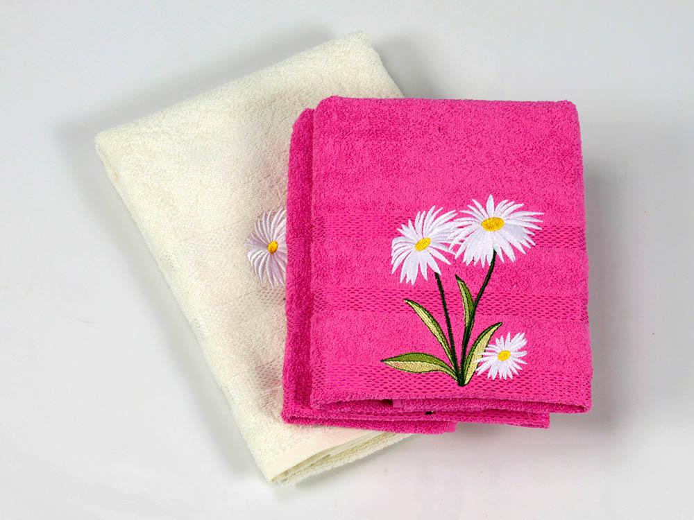 Полотенца Cottonist Полотенце Ромашка Цвет: Кремовый,Фуксия (Набор) полотенца eleganta полотенце anetta цвет темная фуксия набор