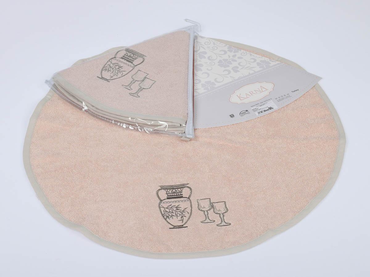 Салфетки KarnaСалфетки<br>Производитель: Karna<br>Страна производства: Турция<br>Материал: Махра (100% Хлопок)<br>Размер: диаметр 50 см<br>Плотность: 380 г/м2<br>Особенность: Салфетка с петлей украшена вышивкой.<br><br>Тип: Салфетки<br>Размерность комплекта: Салфетки<br>Материал: Махра<br>Размер наволочки: None<br>Подарочная упаковка: Салфетки<br>Для детей: Салфетки<br>Ткань: Махра<br>Цвет: Бежевый