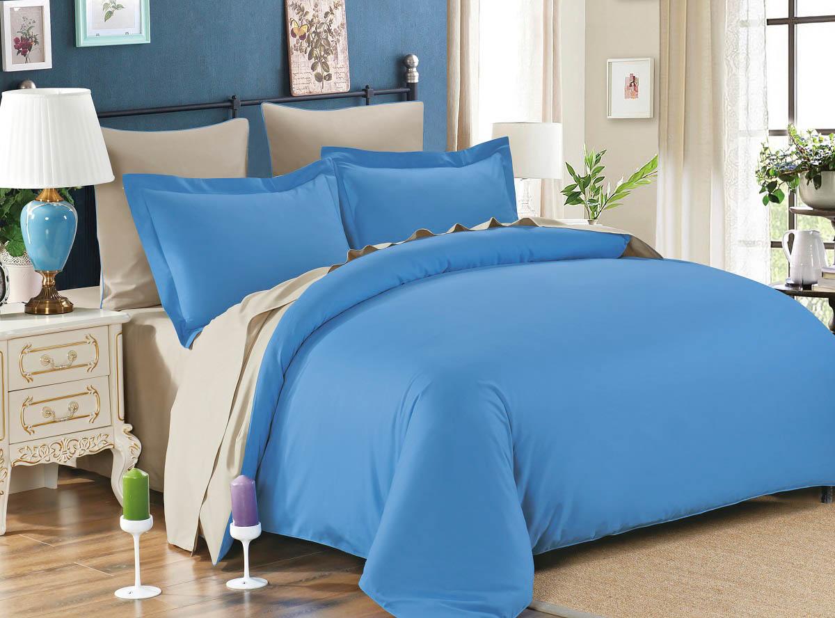 где купить  Постельное белье Karna Постельное белье Sanford Цвет: Голубой-Бежевый (семейное)  по лучшей цене
