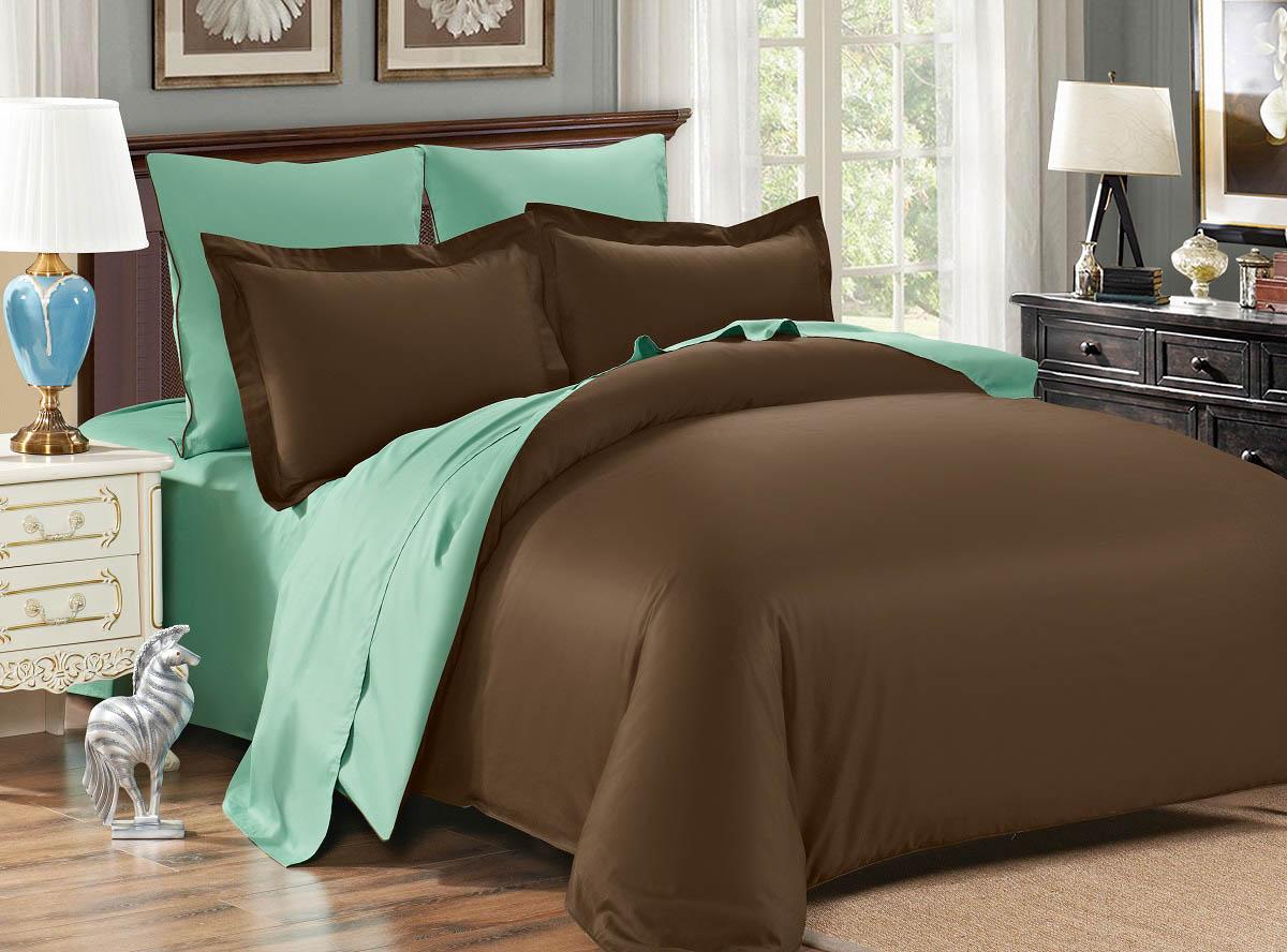где купить  Постельное белье Karna Постельное белье Sanford Цвет: Коричневый-Зеленый (1,5 спал.)  по лучшей цене
