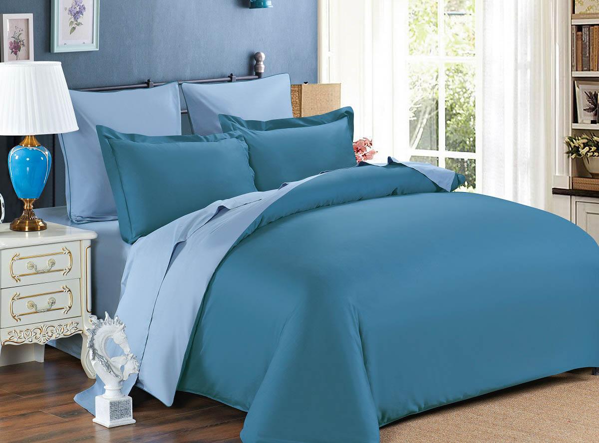 где купить  Постельное белье Karna Постельное белье Sanford Цвет: Синий-(Саксен)-Серый (семейное)  по лучшей цене