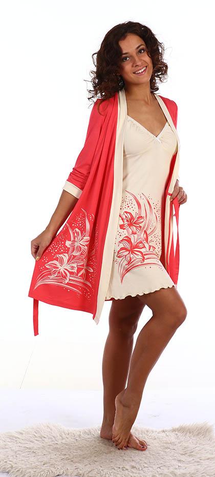 Домашние халаты Серенада Пеньюар и сорочка Devon Цвет: Коралл (M)