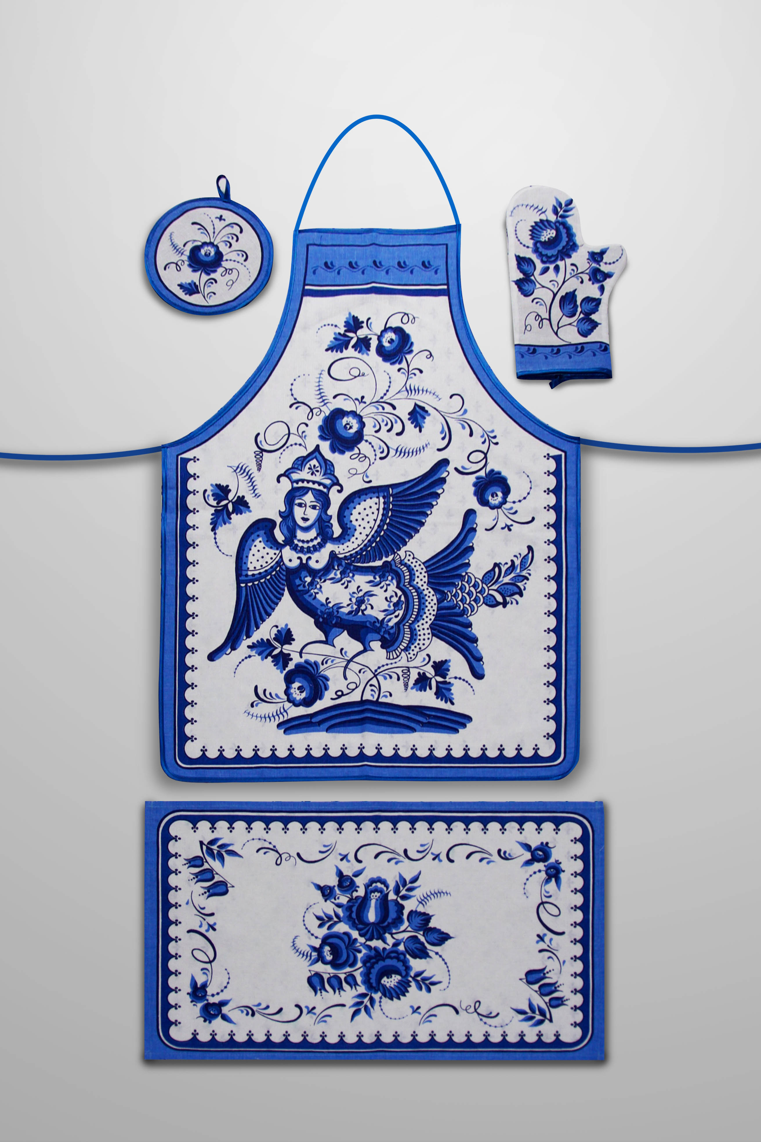 Кухонный набор Zlata Korunka Zlata Korunka Кухонный набор фартук + варежка + прихватка + полотенце Гжель zlk205963