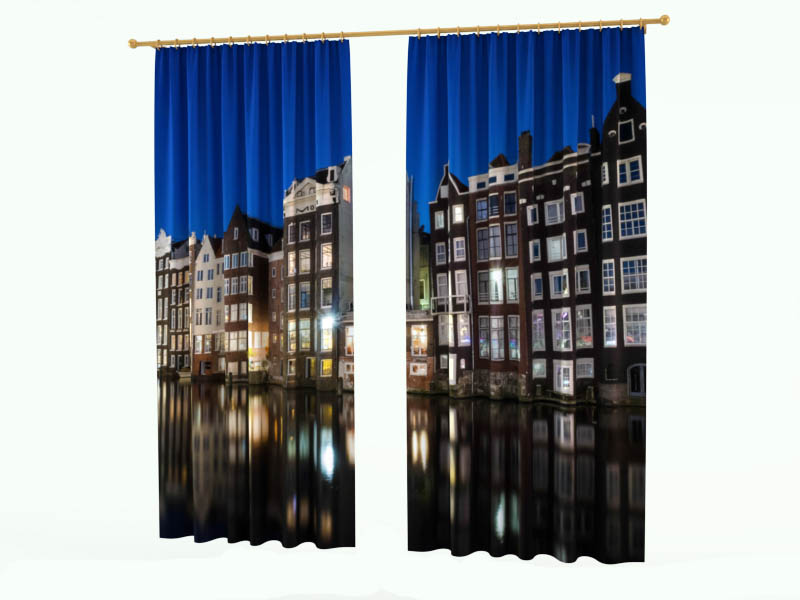 Шторы StickButik Фотошторы Вечерний Амстердам