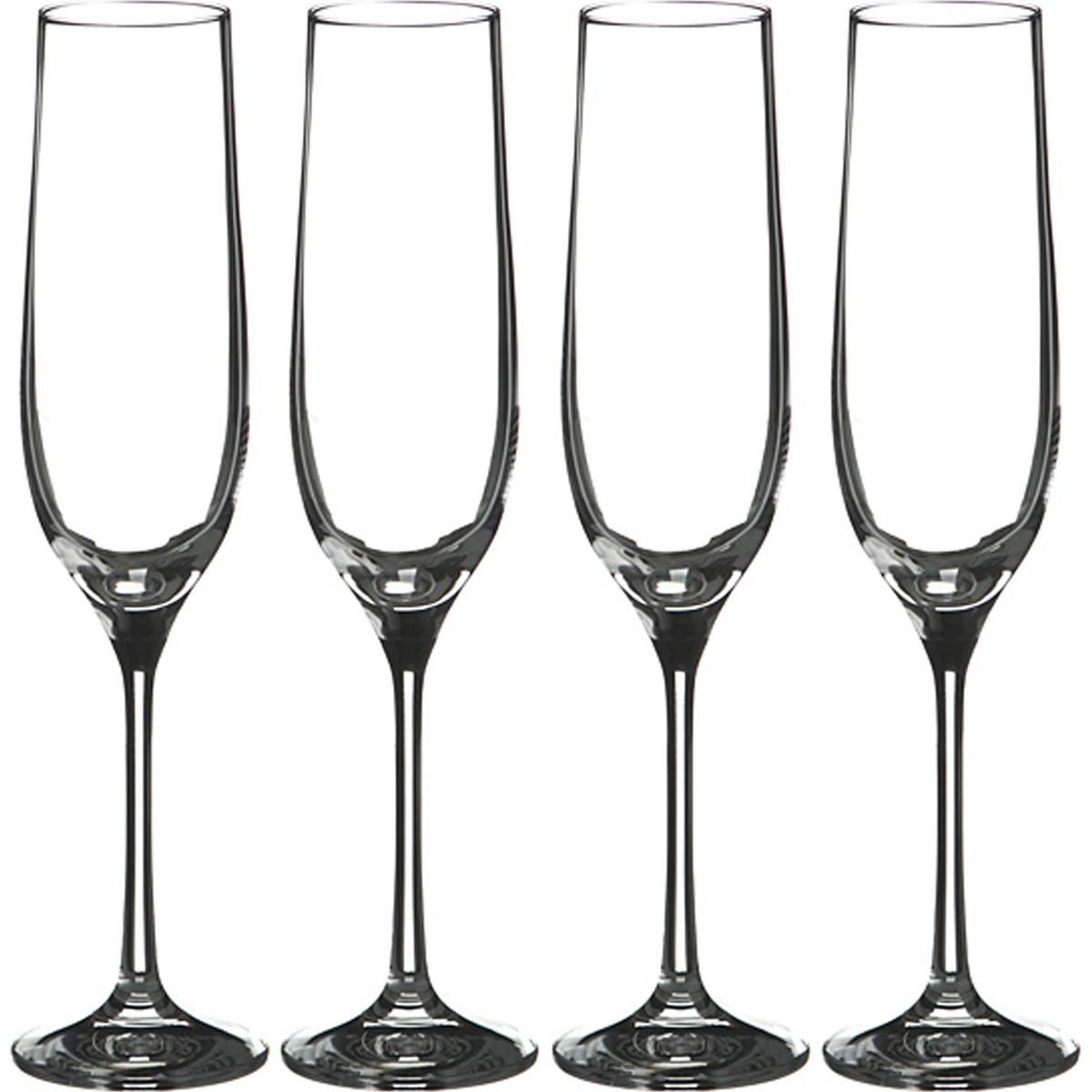 {} Bohemia Crystal Набор бокалов для шампанского Cora  (24 см - 4 шт) набор для кофе crystal bohemia mokko 4 предмета
