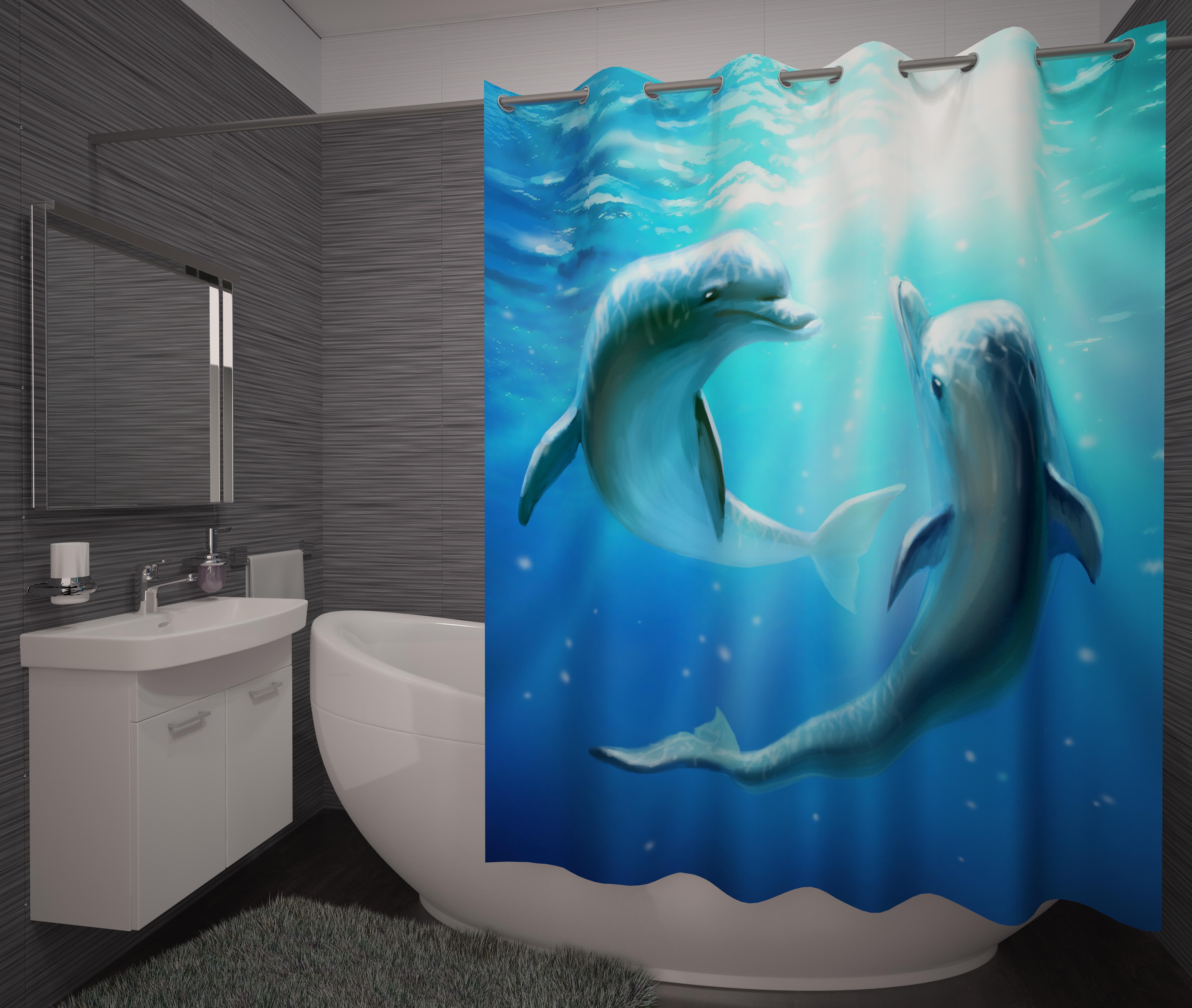 Шторы и карнизы для ванной Fototende Фотошторы для ванной Donia