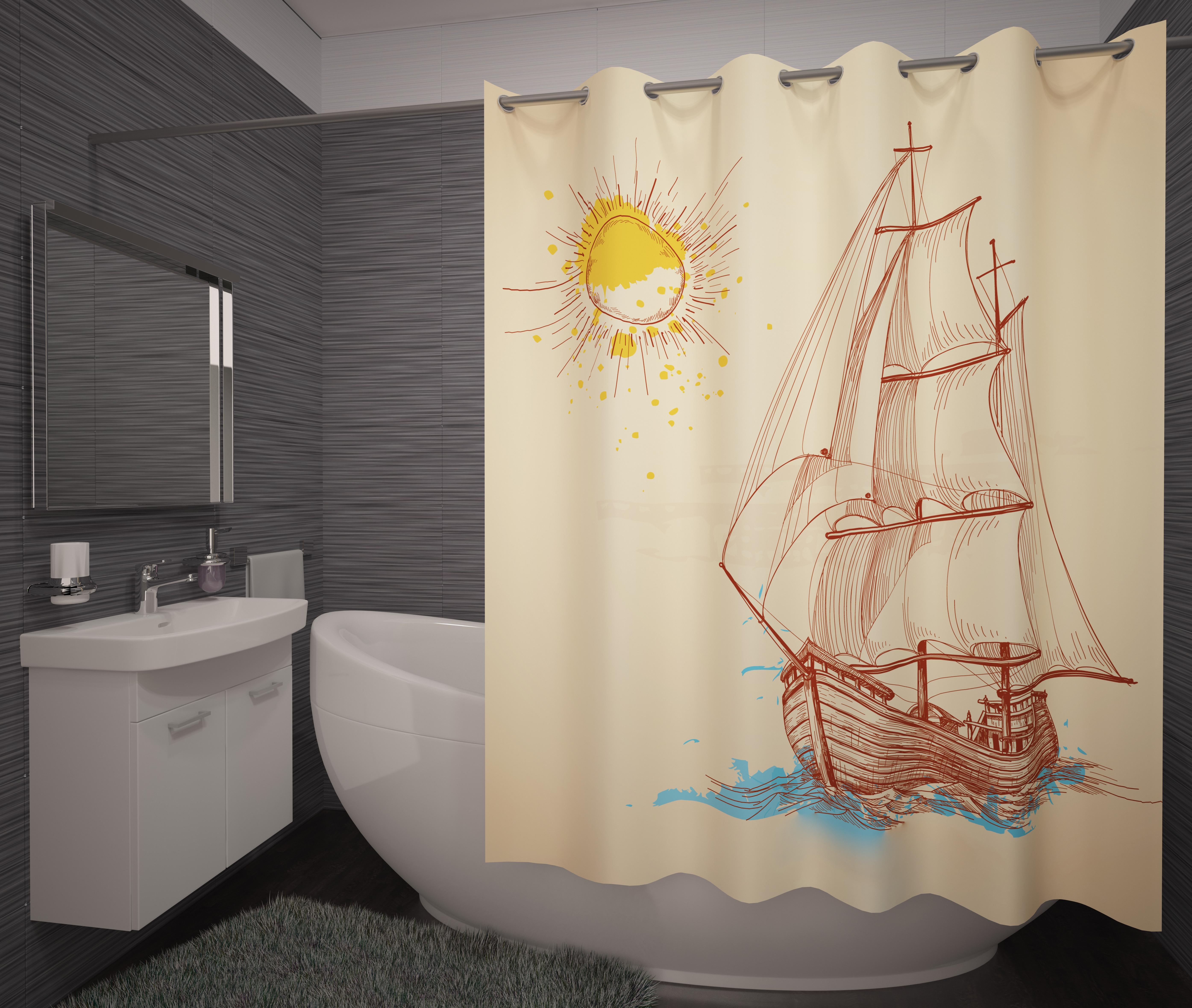 Шторы и карнизы для ванной Fototende Фотошторы для ванной Terra