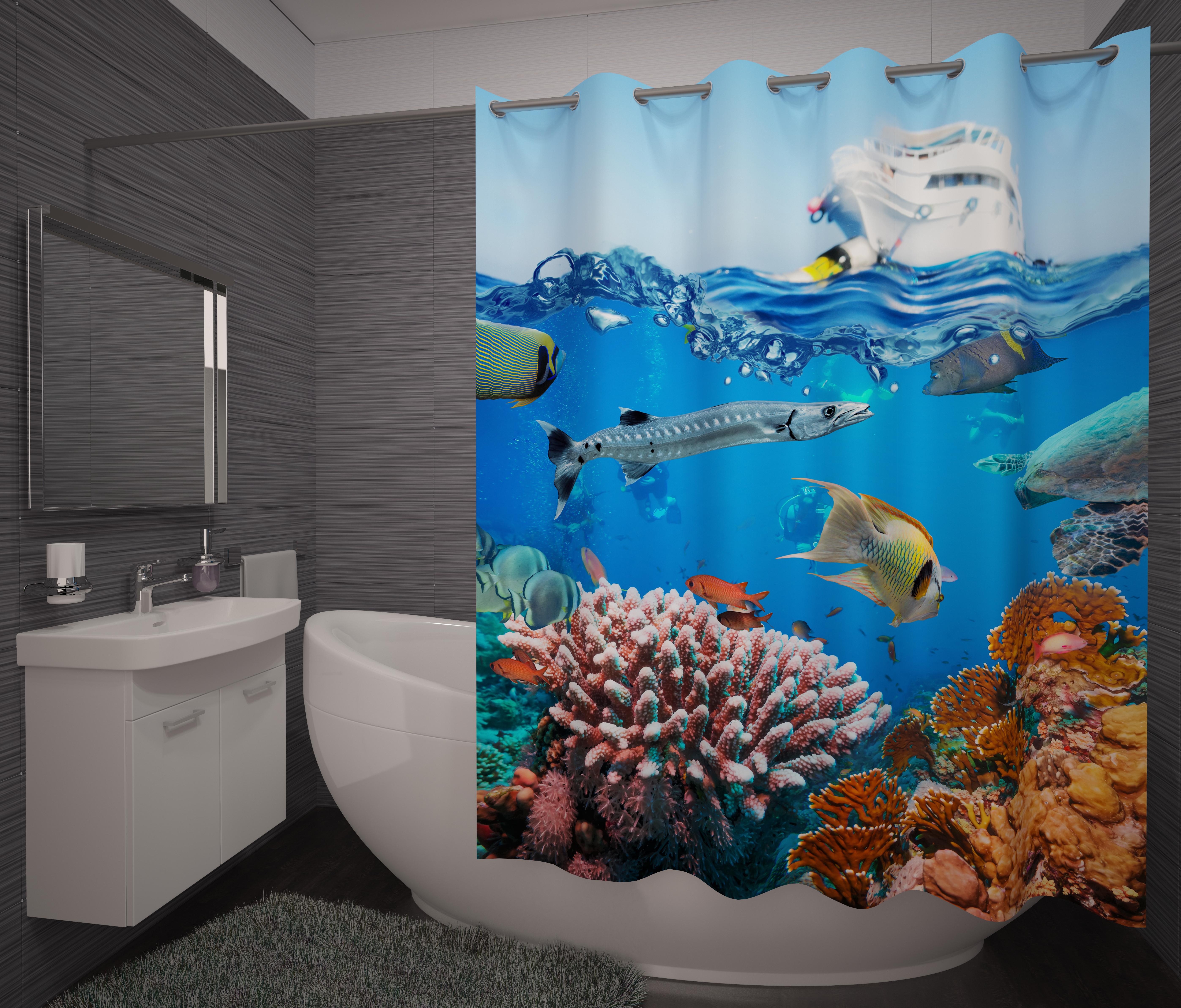 Шторы и карнизы для ванной Fototende Фотошторы для ванной Scarlet