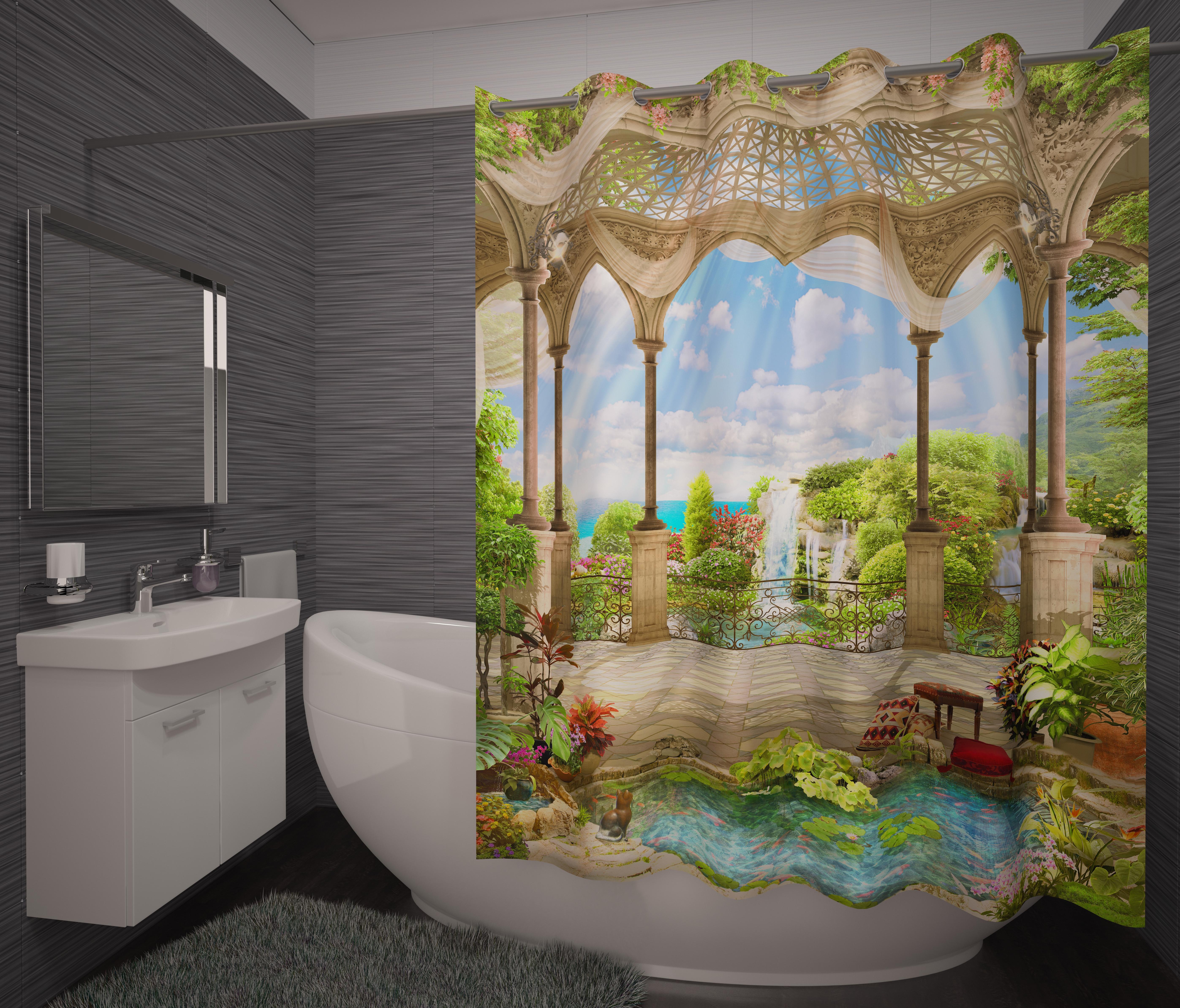 Шторы и карнизы для ванной Fototende Фотошторы для ванной Rocco