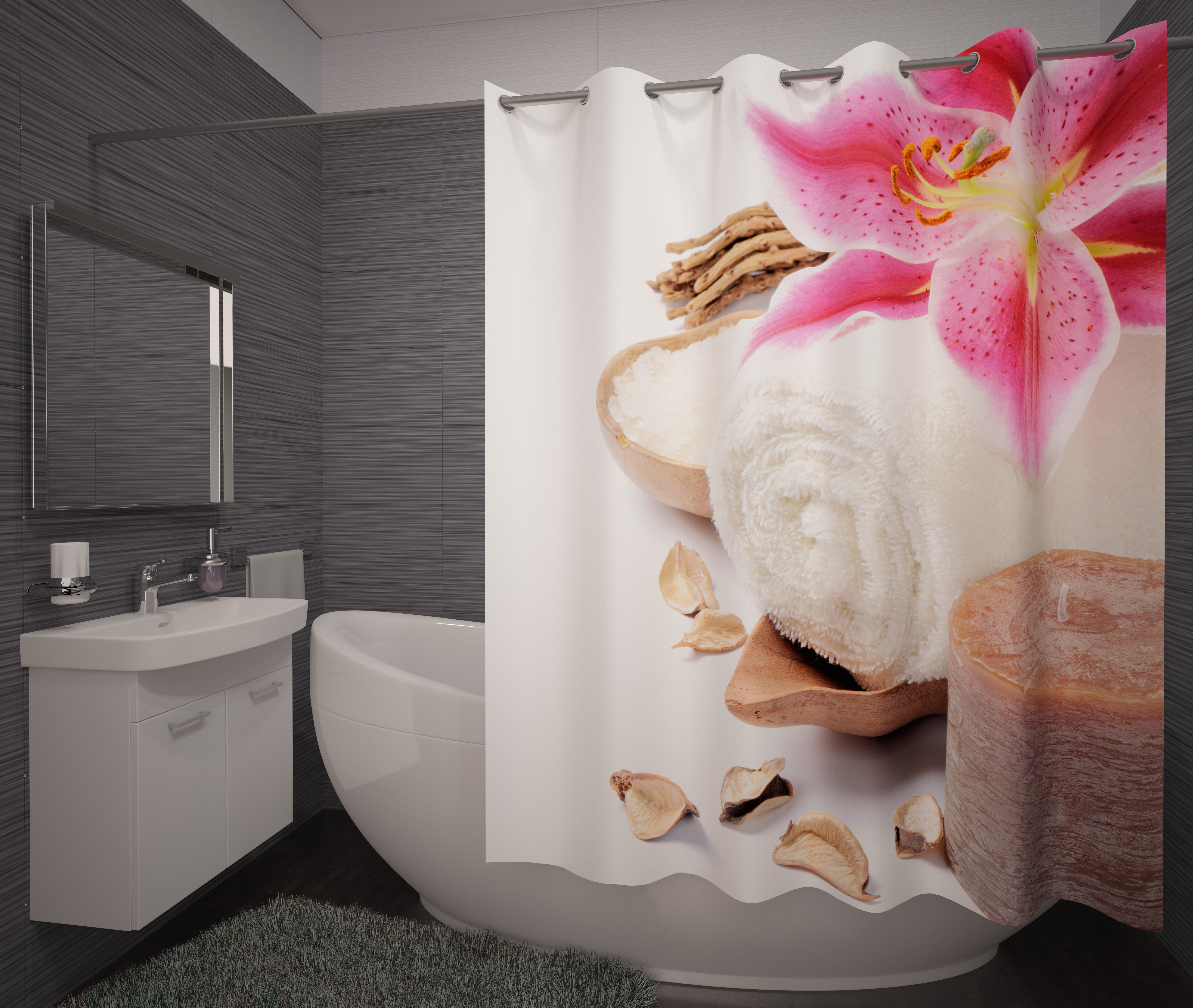 Шторы и карнизы для ванной Fototende Фотошторы для ванной Tosca
