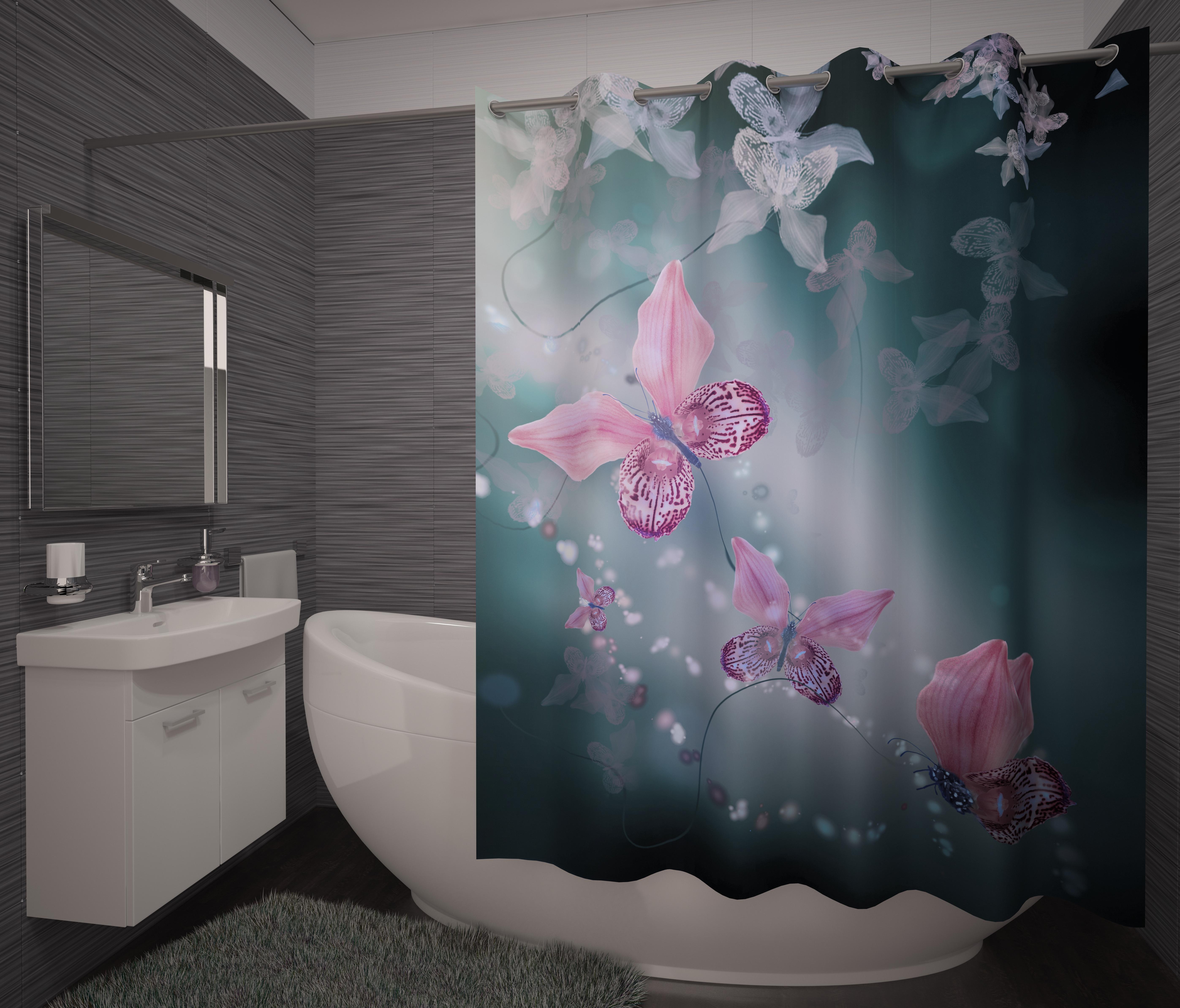 Шторы и карнизы для ванной Fototende Фотошторы для ванной Rawson