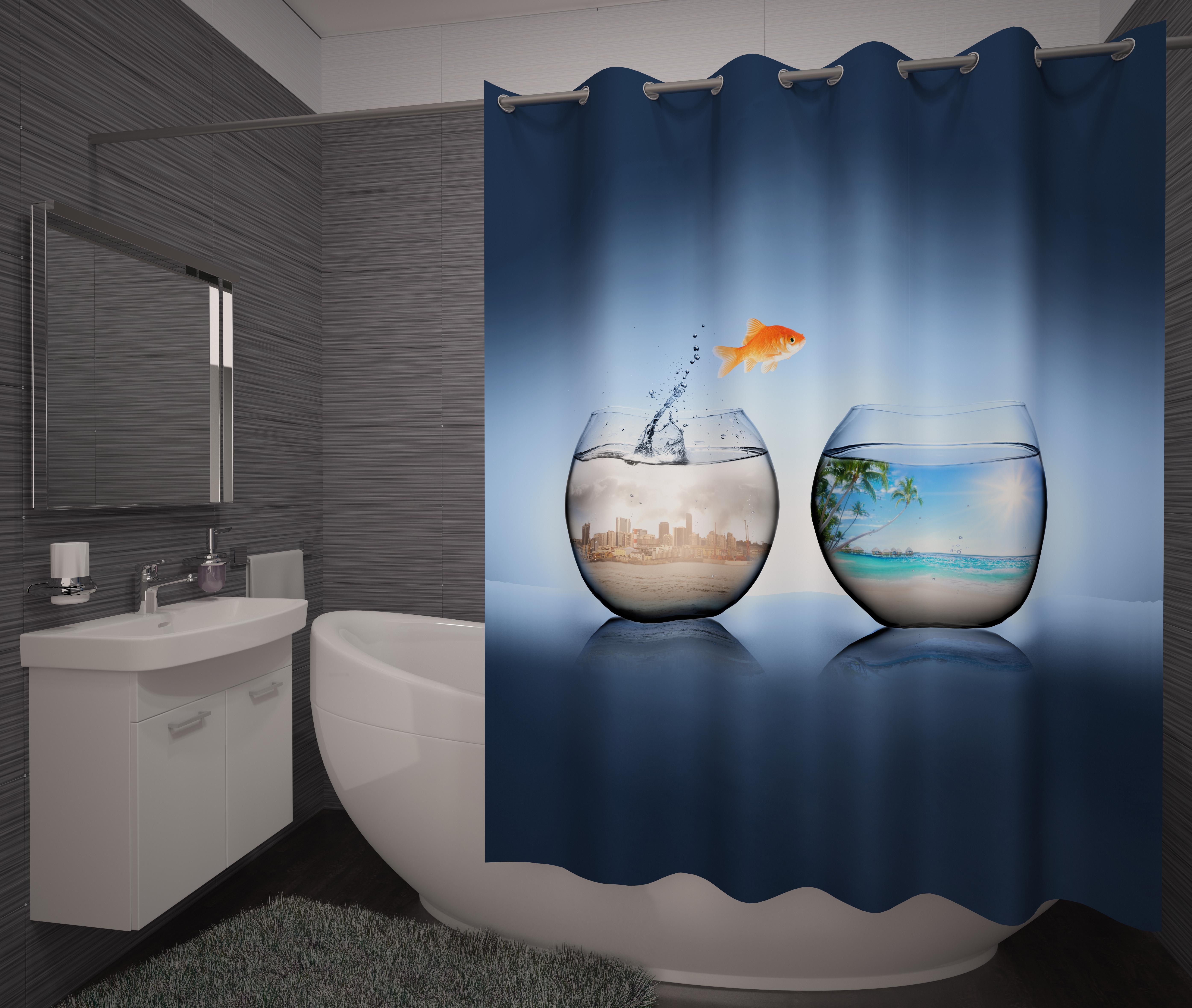 Шторы и карнизы для ванной Fototende Фотошторы для ванной Libra