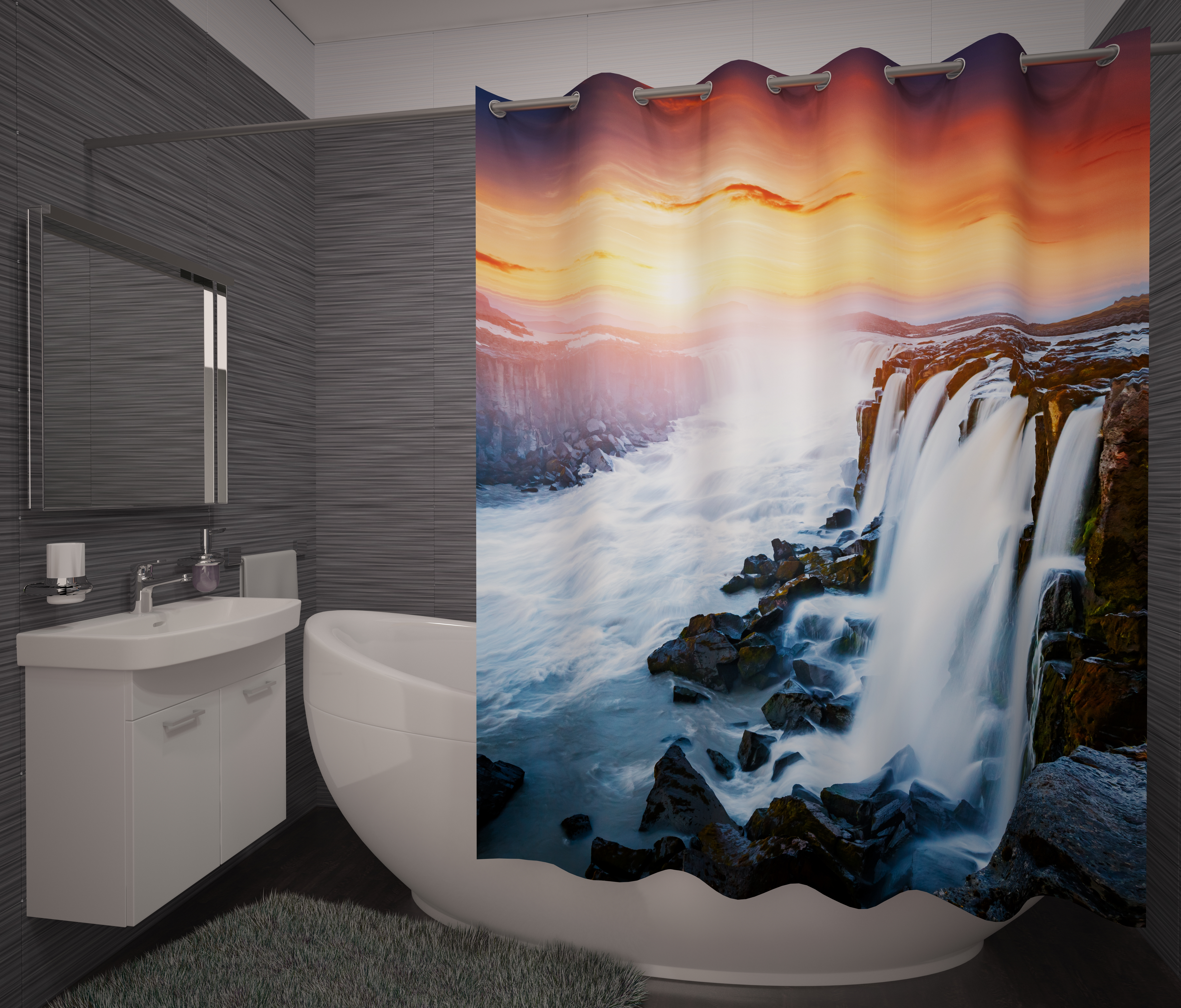 Шторы и карнизы для ванной Fototende Фотошторы для ванной Horta